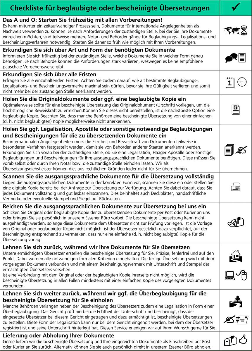 kocarek checkliste beglaubigte oder bescheinigte uebersetzungen