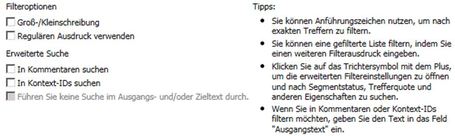 Kocarek GmbH Fachübersetzungen Filtern in MemoQ